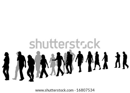 people walking in line - stock vector
