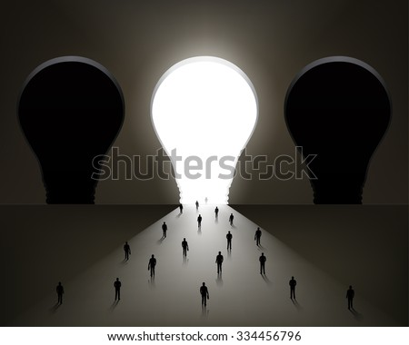 people walking into the light.  Vector Illustration - stock vector