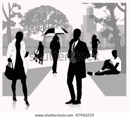People walking on the park.Vector illustration - stock vector