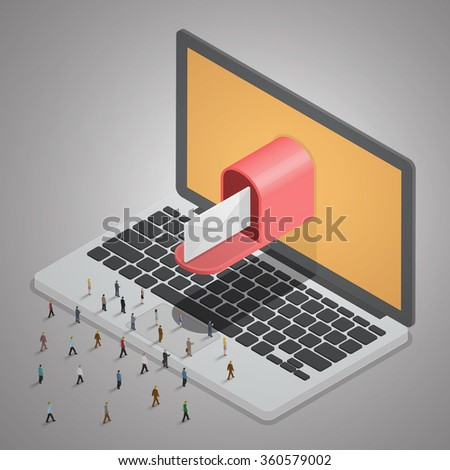 People walking to laptop and E-mail. Mail delivery from Computer laptop. Email business concept. Isometric illustration vector. - stock vector