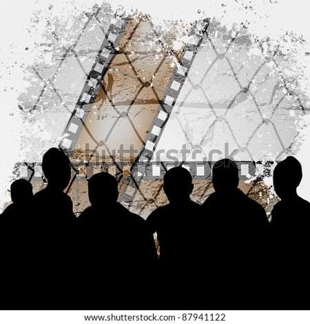People watching the film in a cinema. Retro vector background. - stock vector