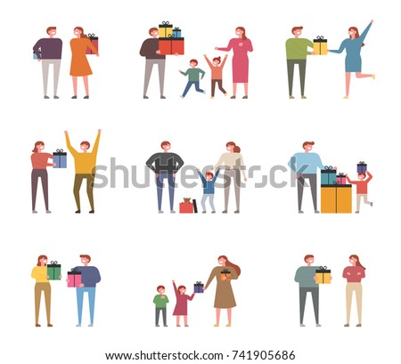 People who make gifts for special occasions. vector illustration flat design