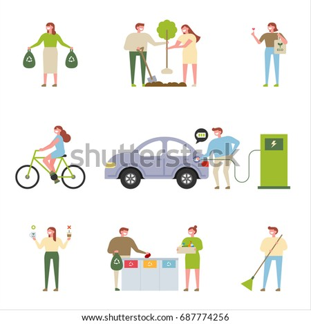 People who protect nature vector illustration flat design