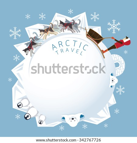 People with Arctic Dogs Sledding, Round Frame, Winter, Nature Travel and Adventure - stock vector