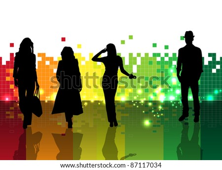 People with colorful background