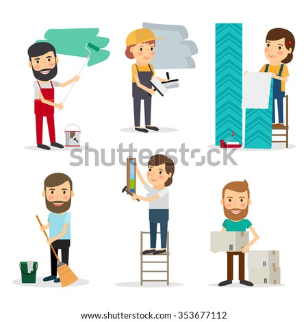 People with equipment repair house. Men and women brooming, painting, moving cardboard boxes, paperhanging. Vector illustration. - stock vector