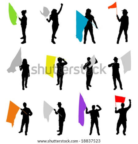 people with flag - stock vector