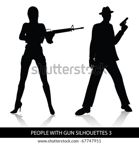 People with gun silhouettes - stock vector