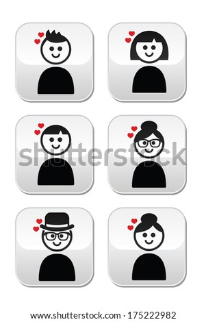 People with hearts, love, Valentine's Day buttons set