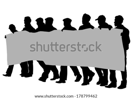 People with large banner on street - stock vector