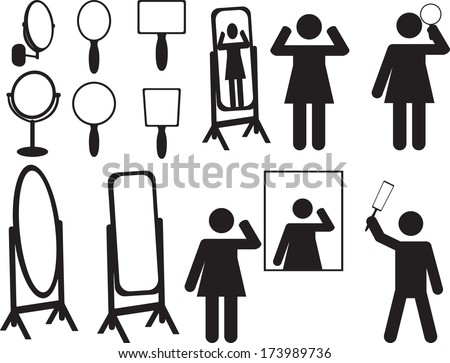 People with mirrors illustrated on white  - stock vector
