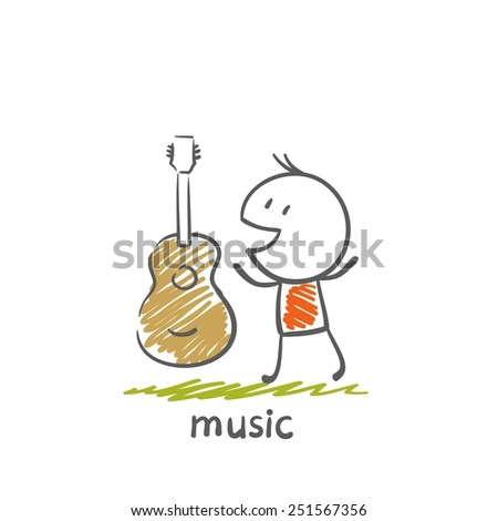 People with musical instruments guitar illustration - stock vector