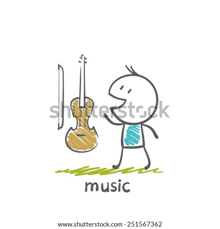 People with musical instruments violin illustration - stock vector