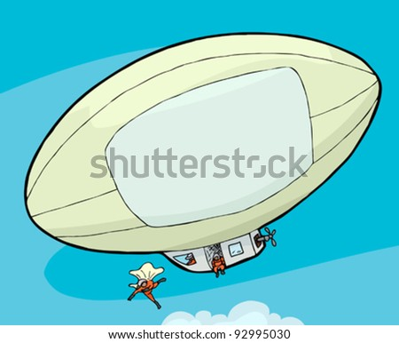 People with parachutes jump out of a blimp in the sky - stock vector