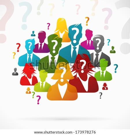 People with questions working as a team - stock vector