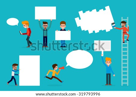 People with sign boards - stock vector