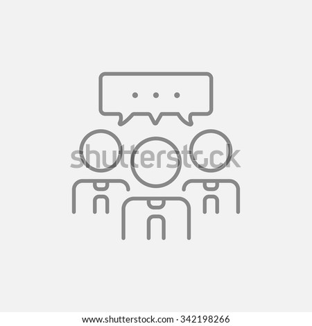 People with speech square above their heads line icon for web, mobile and infographics. Vector dark grey icon isolated on light grey background. - stock vector