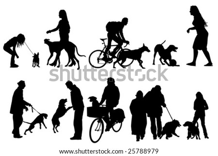 people with their dogs, collection - stock vector