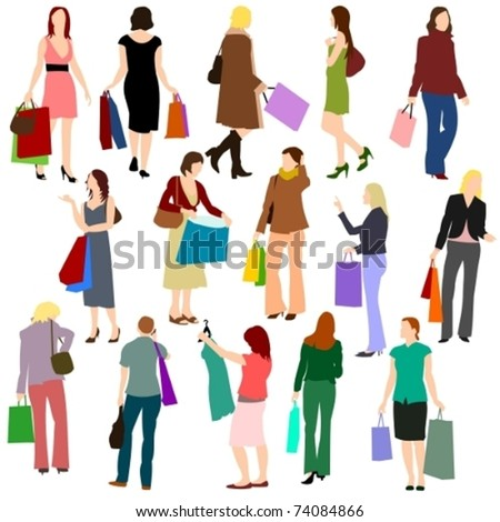 People - Women Shopping No.1. - stock vector