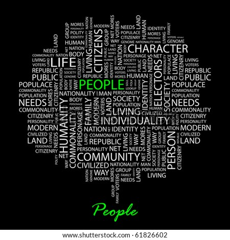 PEOPLE. Word collage on black background. Illustration with different association terms. - stock vector