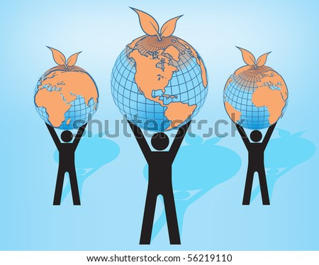 Peoples holding Earth globes - stock vector