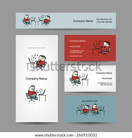 Peoples working at office, business cards for your design - stock vector