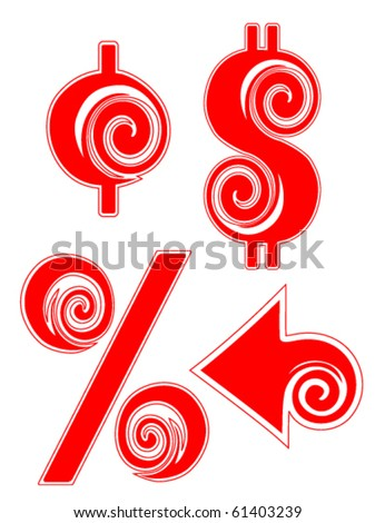 Peppermint Candy Cane Dollar, Cent, Percentage, and Arrow signs. - stock vector