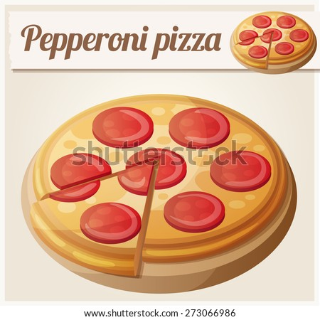 Pepperoni pizza. Detailed vector icon. Series of food and drink and ingredients for cooking. - stock vector