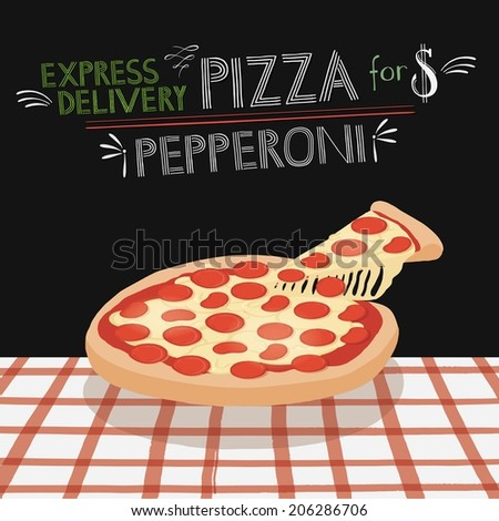 Pepperoni pizza on a table - stock vector