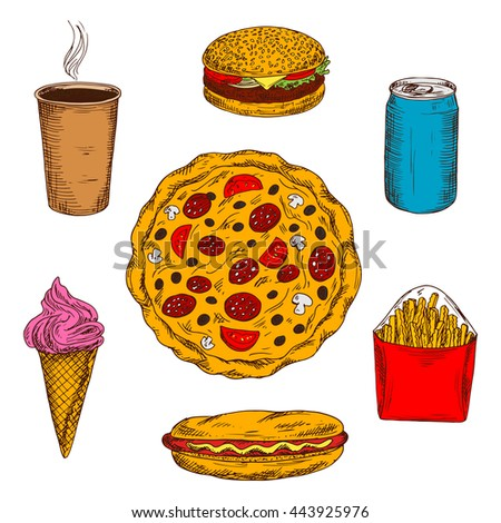 Pepperoni pizza with mushrooms, tomatoes and olives toppings surrounded by fast food cheeseburger and hot dog, coffee and french fries, strawberry ice cream cone and can of soda drink. Sketch style