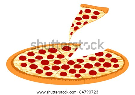 Pepperoni Pizza with Slice Taken - Vector Illustration. (high resolution JPEG also available). - stock vector