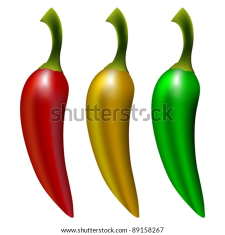 peppers isolated on white background, abstract vector art illustration; image contains gradient mesh