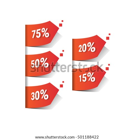 Percent Black Friday Sale Red Tag Banner Vector Illustration