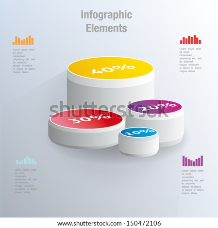 percent circle chart on the blue background. Infographic element. Vector illustration - stock vector