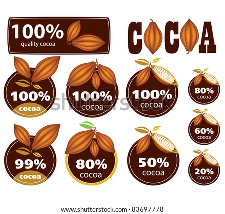 Percent Cocoa Seal / Mark / Icon. - stock vector