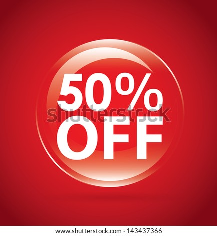 percent off label over red background. vector illustration - stock vector