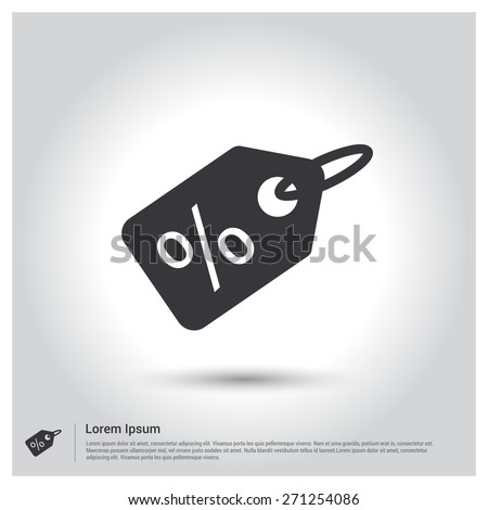 Percent Off Sale tag icon, pictogram icon on gray background. Vector illustration for web site, mobile application. Simple flat metro design style. Outline Icon. Flat design style - stock vector