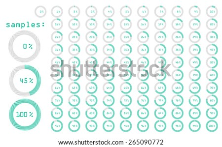 Percentage Icons Turquoise Full Set vector illustration - stock vector