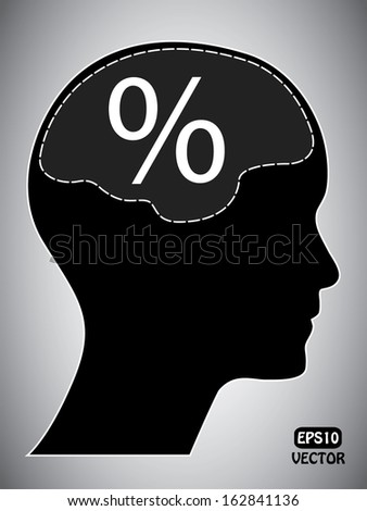 Percentage mark with human head and brain. Abstract easy to edit eps10 vector design. - stock vector