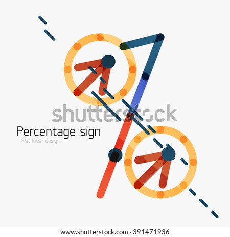 Percentage sign background. Linear outline style made of overlapping multicolored line elements - stock vector