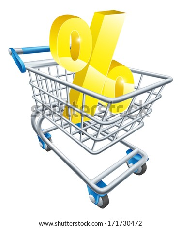 Percentage trolley concept of percent sign in a supermarket shopping cart or trolley, shopping for best APR or mortgage rate or loan etc. - stock vector