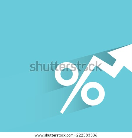 percentages growing up in blue background, flat and shadow design - stock vector