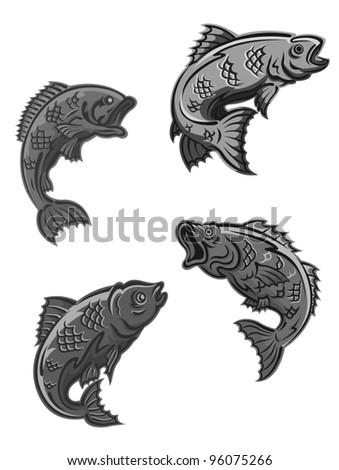 Perch, carp and bass fish isolated on white background for fishing mascot and emblem design. Jpeg version also available in gallery. - stock vector