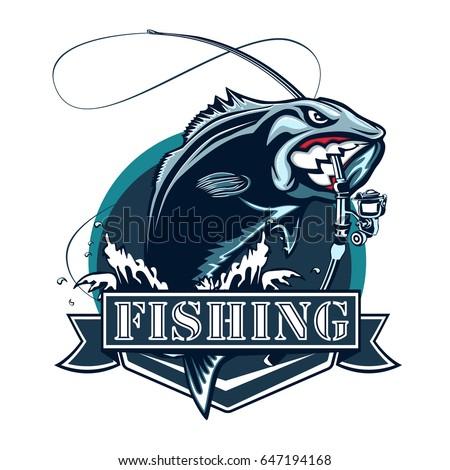 Perch fish fishing rod logo bass stock vector 647194168 for Bass fishing logos