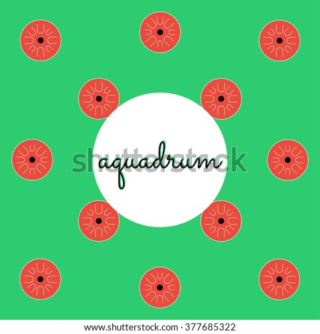 percussion aquadrum on colored background with text - stock vector