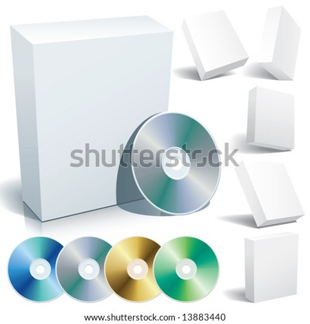 Perfect blank boxes with DVD in a variety of positions. Set of design elements. - stock vector