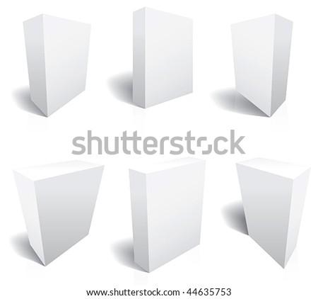 Perfect Blank 3d boxes Vectors. Six templates - stock vector