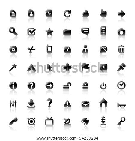 Perfect designer vector icons for computer interface. Main shape, highlights and reflection are in separate layers. - stock vector