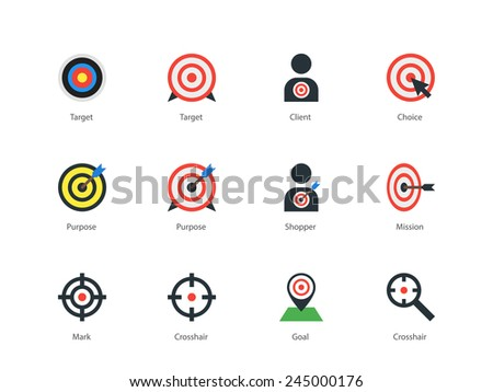 Perfect pictogram collection of sports shooting and objects, sport target, purpose, target with arrow, mark, crosshair and abstract client. Flat design style icons set. Isolated on white background. - stock vector