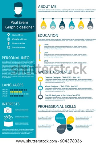 Perfect resume in flat style design on blue background. Modern CV set with  Infographics elements